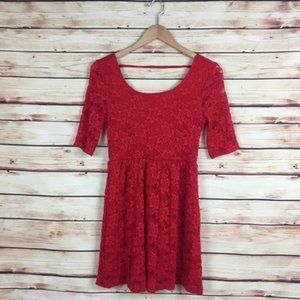 Forever 21 Short Sleeve Lace Dress Red Scoop Back